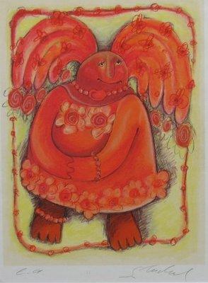 Sabine Tüchel - Oranje vleugels - 73 x 63 cm - Zeefdruk op papier - in houten lijst