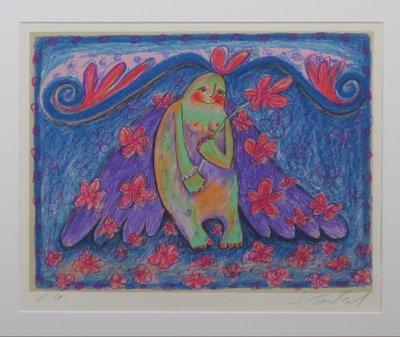 Sabine Tüchel - Paarse vleugels - 73 x 63 cm - Zeefdruk op papier - in houten lijst
