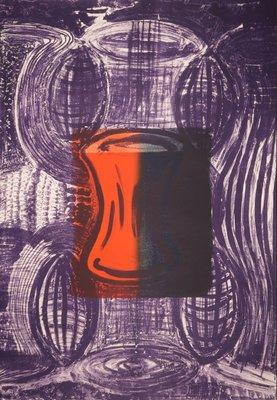 Klaas Hoek - zonder titel (paars) - 108 x 78 cm - Litho op papier op onderblad
