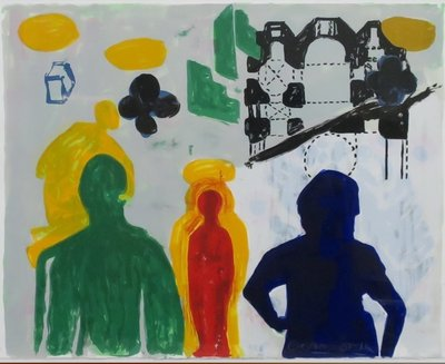 Cees Dolk - Figurenplan 3 -  73 x 93 cm - zeefdruk op papier