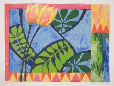 Fenneke van der Elst - Tulpen uit Delft - 57 x 75 cm - zeefdruk op papier