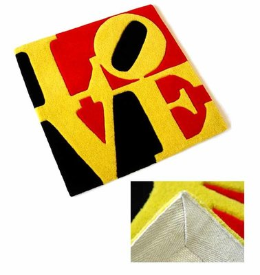 Robert Indiana - German LOVE - 60 x 60 cm - Mixed media, handgeknoopt wol