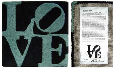 Robert Indiana - Winter LOVE - 38 x 38 cm - Mixed media, handgeknoopt wol