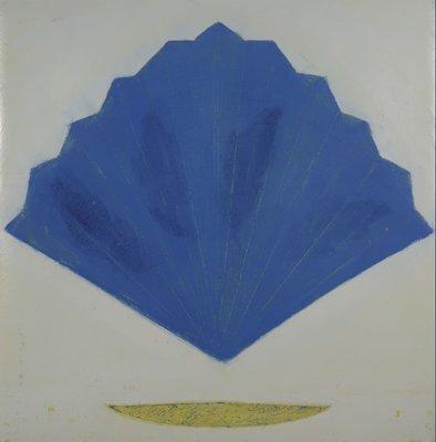 Aafke Kelly - Blue Far - 103 x 103 cm - Olieverf op papier - in houten lijst