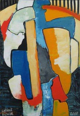 Robbert Kiewiet - Zonder titel - 104,5 x 74,5 cm - Acrylverf op doek - in houten baklijst