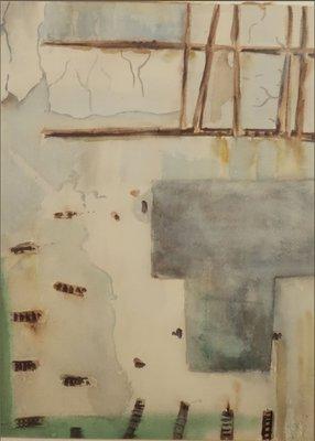 Johan Meeske - Muur II - 83,5 x 64 cm - Aquarel op papier - ingelijst in houten lijst