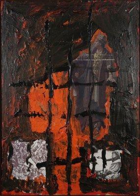 Marco den Breems - zonder titel III - 84 x 59,5 cm - Olieverf op collage