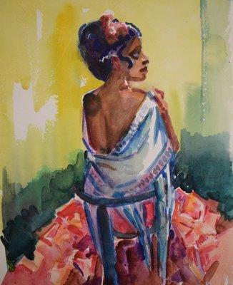 Freek van den Berg - Spaanse dame - 50 x 36,5 cm - Aquarel