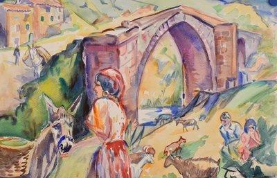 Freek van den Berg - Frans landschap - 56 x 76 cm - Aquarel