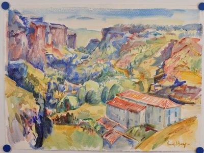 Freek van den Berg - Landschap Pyreneën - 56 x 76 cm - Aquarel