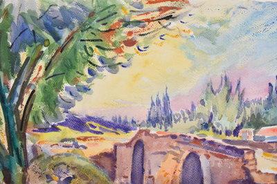 Freek van den Berg - Frans landschap II - 56 x 75 cm - Aquarel