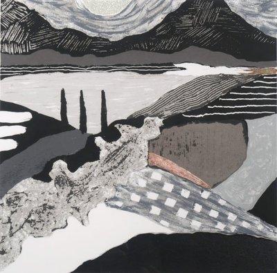 Ronald Boonacker - Night Sky II- 71 x 68 cm - Zeefdruk op papier - zwart/zilver ingelijst