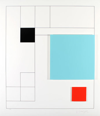 Gottfried Honegger - Concrete Compositie - 70,5 x 61 cm - Gemengde 3D techniek op papier/ karton