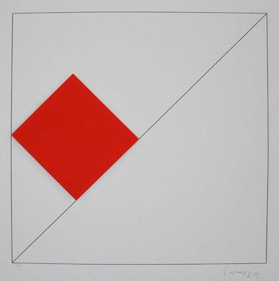 Gottfried Honegger - Concrete Compositie met Rood - 62 x 61 cm - Gemengde 3D techniek op papier/ karton