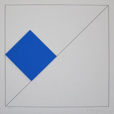 Gottfried Honegger - Concrete Compositie met Blauw - 62 x 61 cm - Gemengde 3D techniek op papier/ karton