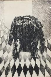 Marije Berkelmans - Jas -  Ets op papier - 45 x 33 cm -  Ingelijst