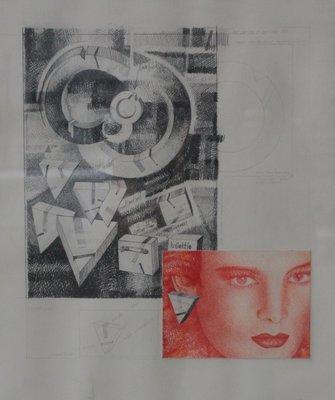 Hugo Clemens van den Broeck - Konsept Maart - 38 x 32 cm - kleurpotlood op papier
