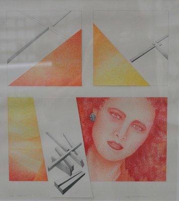 Hugo Clemens van den Broeck - Meisje + Konstruktief Lineair - 35 x 32 cm - kleurpotlood op papier