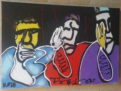 Fabian - Horen, Zien en Zwijgen - 120 cm x 80 cm - acrylverf op katoen