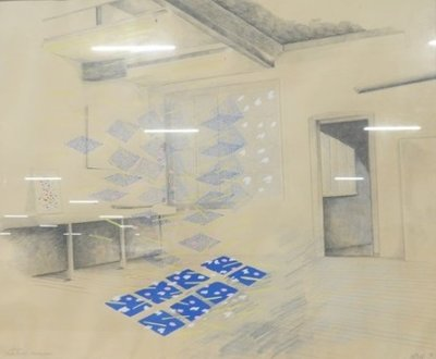 Marieke Geys (aka Przewalski) - Tekening nummer V - 52 x 62 cm - gemengde techniek op papier - ingelijst