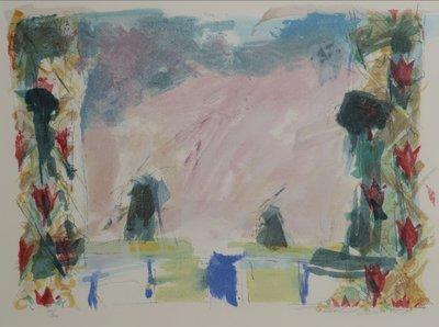 Richard Smeets - Trein in Landschap - 58 x 67 cm - Zeefdruk op papier - aluminium ingelijst
