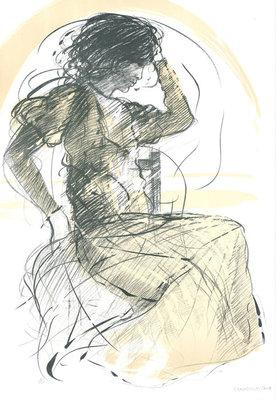 Riccardo Benvenuti - Die Nachdenkliche - 65,5 x 45 cm - Litho op papier