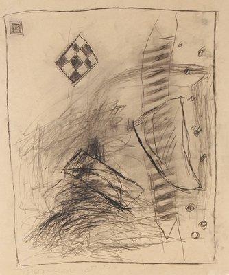 Tineke Bosma - zonder titel - 45 x 38 cm - Potloodtekening op papier op achterblad