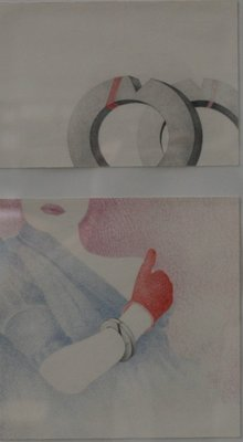 Hugo Clemens van den Broeck - Stapeltje- 24 x 32 cm - kleurpotlood op papier