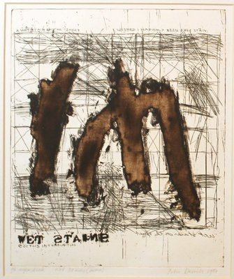 Peter Daniels - Wet Stains (Brown) - 40 x 34 cm - Ets op board en passe-partout