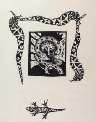 Patries van Elsen - Portret met slangen -  95 x 70 cm - Lithografie op papier