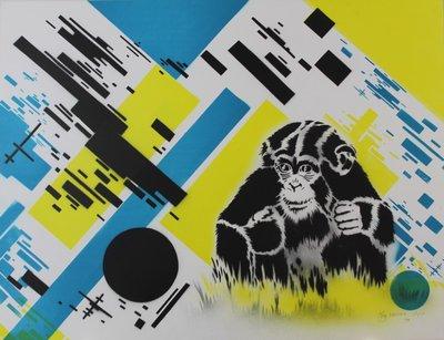 Hugo Kaagman - Chimptoys - 49 x 65 cm - Zeefdruk met airbrush techniek op papier