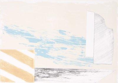 Gé van Kesteren - Gesloten deur - 52 x 72 cm - Kleuren steendruk op papier