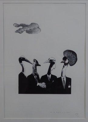 Tinca Veerman - De bezegeling van het akkoord - 83 x 63 cm - Zeefdruk op papier - in houten lijst