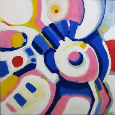 Annemiek Tjepkema - Abstracte compositie II - 90 x 90 cm - Acryl op board