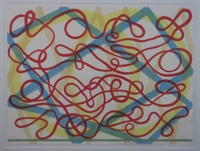 Ton Teeken - zonder titel - 77 x 95 cm - Zeefdruk op papier - in houten lijst