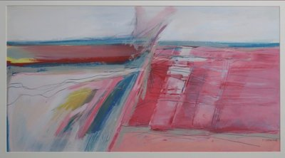 Eugenie Sassen - Landschap - 56 x 71 cm - Acrylverf op papier - in aluminium lijst
