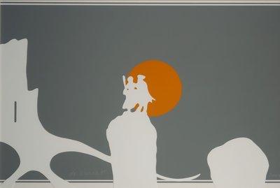 Gerard Polhuis - De Burcht - 72,5 x 102,5 cm - Gemengde grafische techniek op papier - in houten lijst