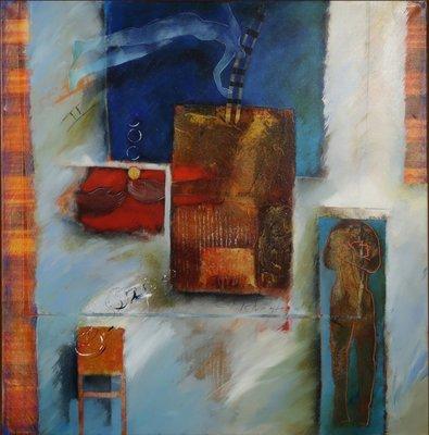 Marjan Nagtegaal - Omhoog vallen, omlaag klimmen - 83 x 83 cm - Acrylverf op doek - in houten baklijst zonder glas
