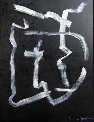 Jan van Holthe - Peinture sur fond noir - 101 x 82 cm - olieverf op doek - in zwarte houten lijst