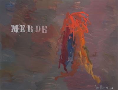 Jan van Holthe - Uit de Merde serie: Merde 1 - 54,5 x 74 cm - Acryl op papier