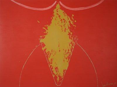 Jan van Holthe - Uit de Merde serie: Merde 26 - 54,5 x 74 cm - Acryl op papier
