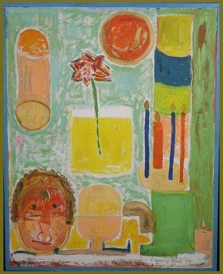 Meertje Kaal - zonder titel - 128 x 103 cm - Olieverf en collage op doek - in houten lijst zonder glas