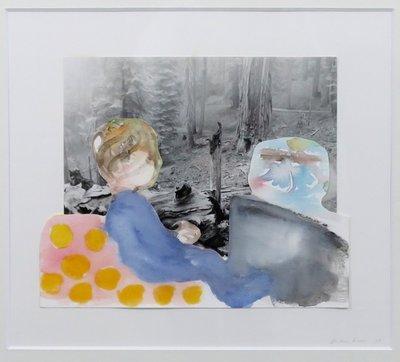 Gerdien Kroes - Kind in woud - 53 x 53 cm - Aquarel en collage op papier - in houten lijst