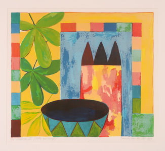 Fenneke van der Elst - zonder titel - 61 x 61 cm - zeefdruk en acryl op papier - ingelijst