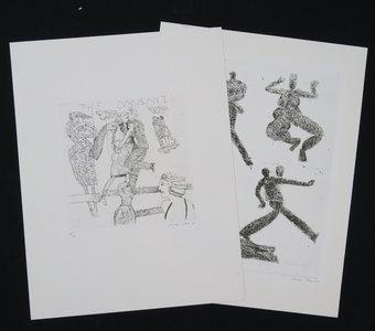 Bouke Ylstra - Kwartet & The Dansant - 2x ets op papier - 65 x 50 cm