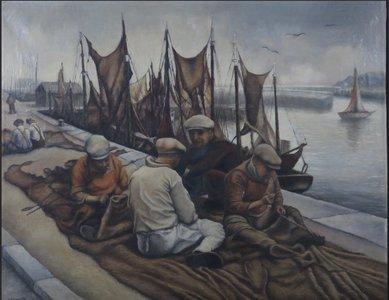 J. Henrotte - Pecheur au travail - 80 x 100 cm - olieverf op doek