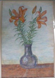 Antoinette Hoytema - Bloemen in vaas - 74 cm x 56 cm - aquarel op papier