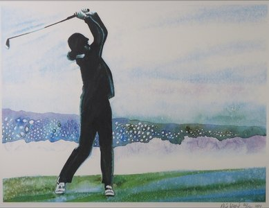 Rene Broné - Playing Golf at Pebble Beach - 75,5 x 95,5 cm - Zeefdruk op papier - ingelijst