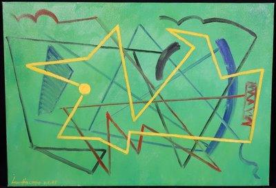 Jan van Holthe - Figure javne sur vert - 38 x 55 cm - olieverf op doek