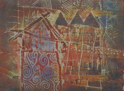Chabab Tayefeh Mohajer - Le Village - Ets op papier - 51,5 x 61,5 cm - Aluminium ingelijst